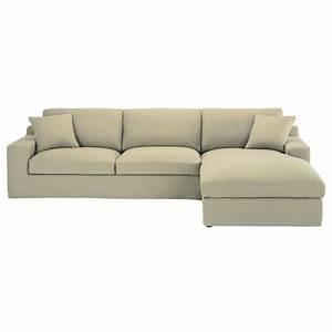 Canapé Droit 5 Places : canap d 39 angle droit 5 places en coton mastic stuart ~ Premium-room.com Idées de Décoration