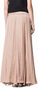 Zara Long Flowy Skirt in Beige (make-up)   Lyst