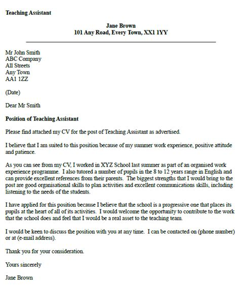 teaching assistant cover letter exle sle cover
