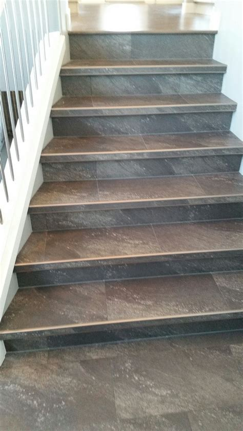 vinyl flooring on stairs luxury vinyl tile installed with custom insert stair nosings project gallery pinterest