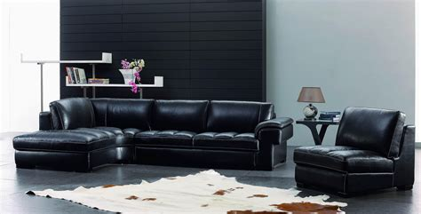 Dark Living Room Furniture with Black and White Leather