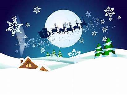 Night Christmas Winter Vector Scene Clipart Santa