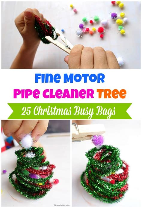 fine motor pipe cleaner tree christmas busy bags
