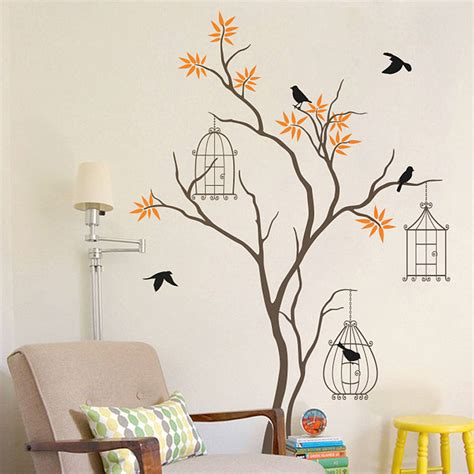 tree  birds  birdcage wall decal  wall art