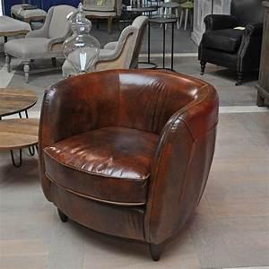 Fauteuil Crapaud Cuir : fauteuil cuir rondo effet vintage ~ Teatrodelosmanantiales.com Idées de Décoration