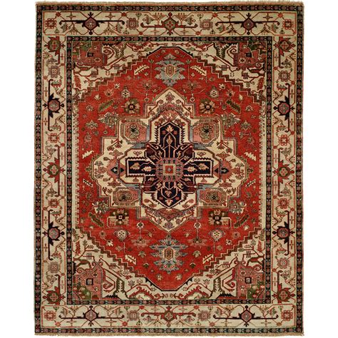 6x9 Wool Rug hri serapi knotted wool pile area rug 6x9