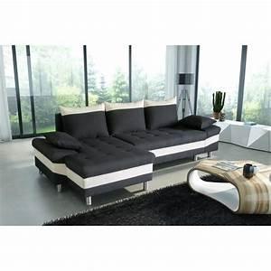 canape d angle convertible 5 places noir et blanc With canapé d angle gifi