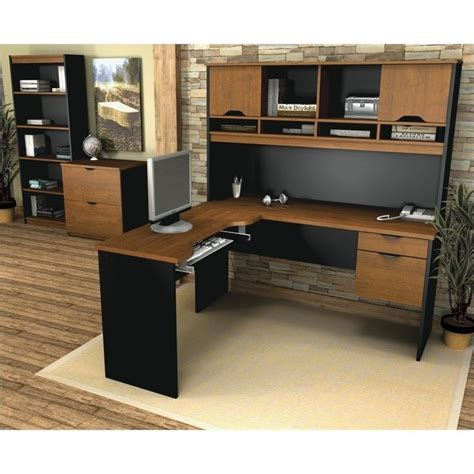 bestar innova l shaped desk bestar innova l shape desk set in tuscany brown 92852 63