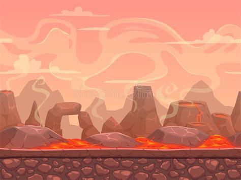 Seamless Cartoon Volcano Desert Landscape Stock