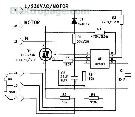 Ac Motor Schematic by U208 Tic236 220v Ac Motor Controller Schematic Circuits