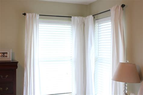 corner window curtain rod home thrifty home our bedroom