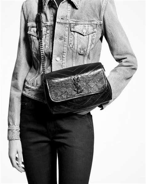 saint laurent niki body bag  crinkled vintage leather