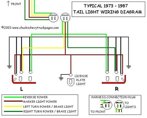 headlight and tail light wiring schematic diagram typical 1973 1987 chevrolet truck chevy