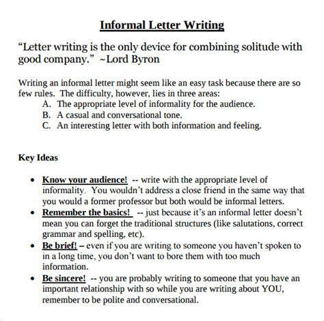 sample informal letters