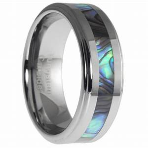 8mm tungsten ring with abalone shell inlay mens wedding for Mens wedding rings tungsten