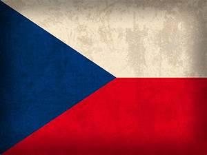 Czech Republic Flag Vintage Distressed Finish Mixed Media