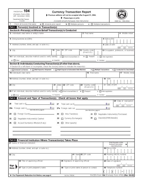 fincen new ctr form 2017 cash transaction report getting a personal loan with no