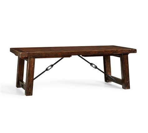benchwright extending dining table rustic mahogany