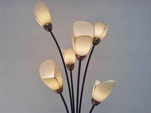 1960s floor lamp by lustrerie massive tulip glass for Large flower floor lamp