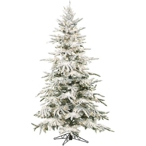 sterling nine foot flocked led trees fraser hill farm 9 ft pre lit led flocked mountain pine artificial tree with 800