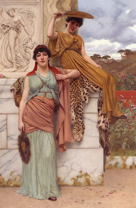 filewaiting   procession  john william godward