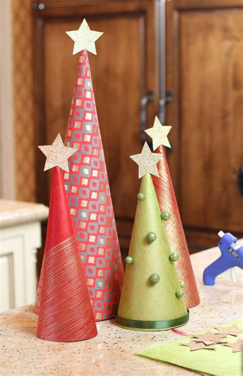 christmas tree tissue paper cone tree craft diy wrapping paper trees lilyshop