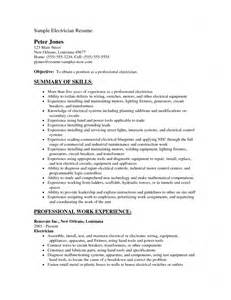 doc 9601351 electrical resumes electrical cv sle