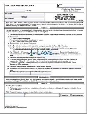 north carolina legal name change form form judgment for absolute divorce before the clerk