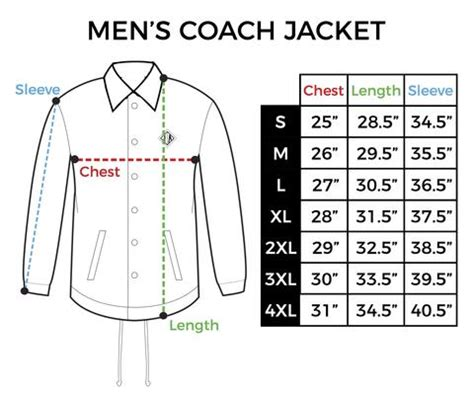 size chart mens coach jacket inkaddict
