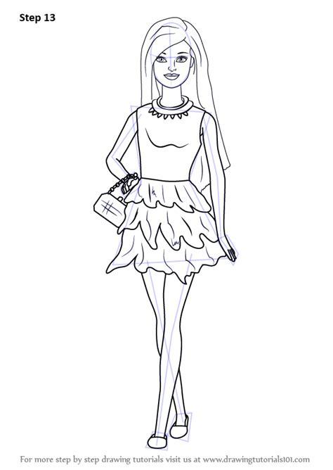 step  step   draw barbie doll  skirt