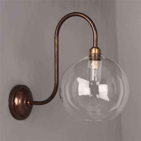 lenham swan neck glass globe bathroom wall light