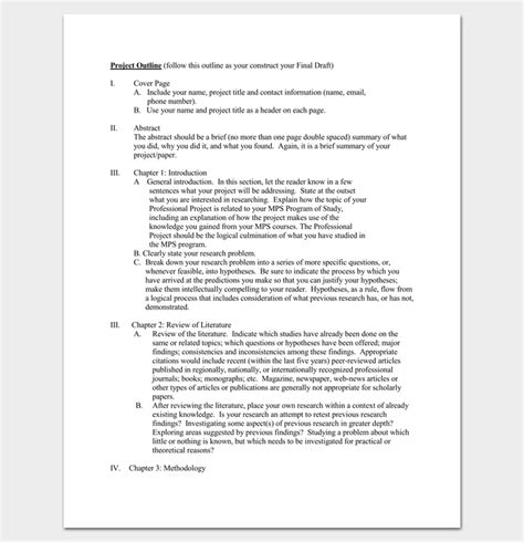 project outline template   word  excel