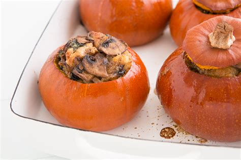 baking with pumpkin baked pumpkin with spinach mushrooms and cheese recipe