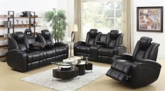 element 2 piece power recline sofa set in black leather