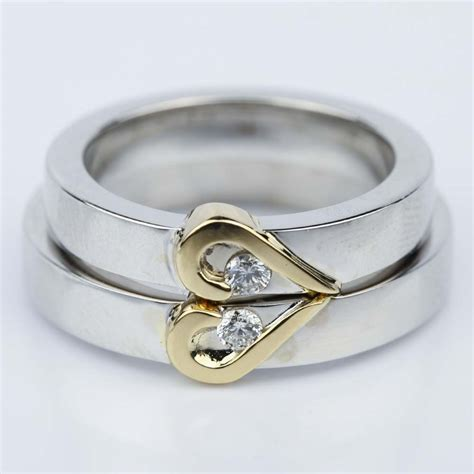 curled heart diamond wedding ring set