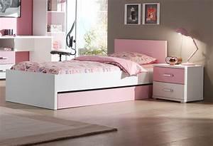 Lit Blanc Fille : idee deco chambre fille rose et gris ~ Teatrodelosmanantiales.com Idées de Décoration