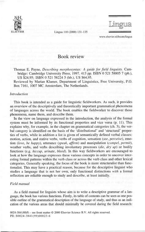 thomas payne describing morphosyntax pdf describing morphosyntax a guide for field linguists