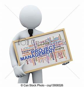 3D Businessman And Project Management Word... Drawing ...