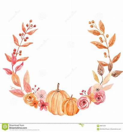 Wreath Fall Pumpkin Watercolor Circle Leaves Autumn