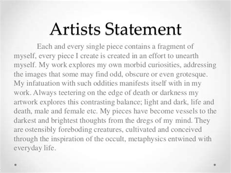 Sample Artist Statement Painting