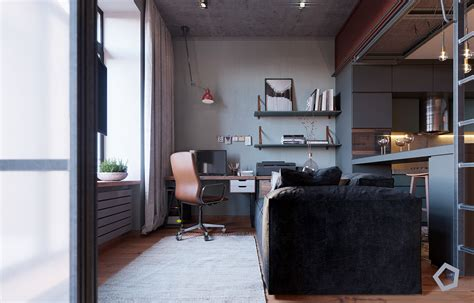 A Small Industrial Apartment With A Home Office Blue Decor by Chic Small Studio Apartment Use A Space Splendidly To Make