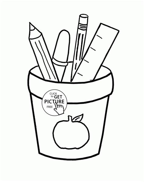 school coloring page school supplies coloring page for school coloring