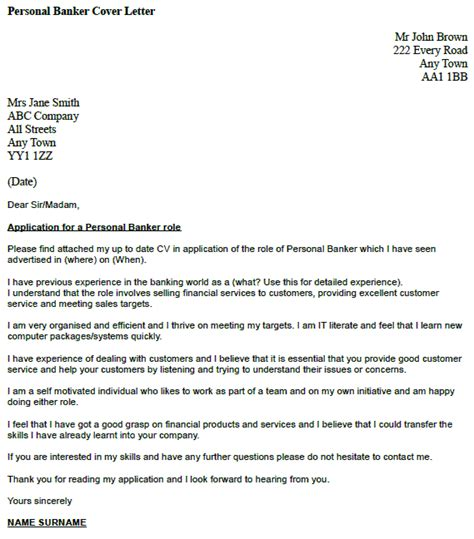 personal banker cover letter exle icover org uk