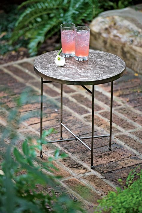 garden side table metal wicker coffee table with teak top for outdoor or indoor use