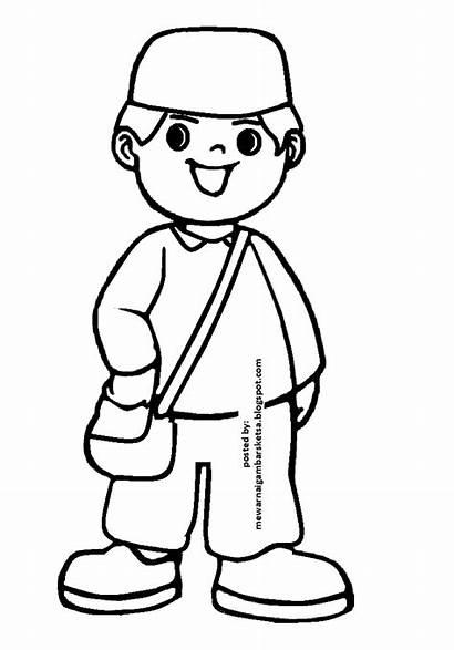 Mewarnai Anak Sketsa Kartun Gambar Sekolah Muslim