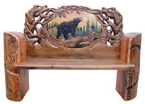Bear Carved Log Bench