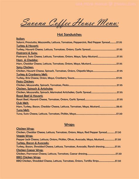 Up to date chap's taproom prices and menu, including breakfast, dinner, kid's meal and more. Online Menu of Savona Coffee House Restaurant, Vancouver, Washington, 98661 - Zmenu