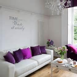 purple livingroom simple white living room with purple cushions small living room ideas housetohome co uk