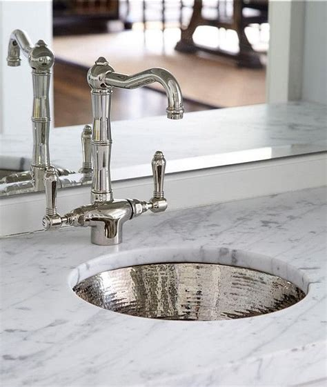 Round Hammered Metal Bar Sink With Vintage Faucet
