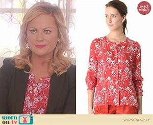 Worn TV Leslie's red cherry blossom print blouse on